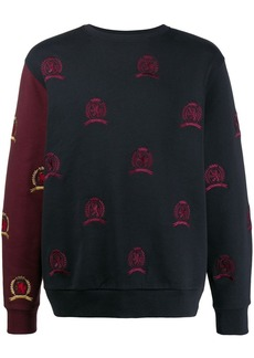 Tommy Hilfiger embroidered contrast sleeve sweater