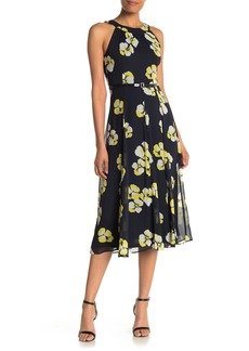 Tommy Hilfiger Faux Leather Belted Floral Midi Dress