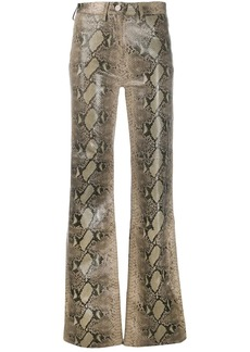 Tommy Hilfiger flared snakeskin print trousers