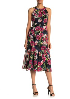 Tommy Hilfiger Floral Print Faux Leather Belted Midi Dress