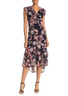Tommy Hilfiger Floral Print High/Low Midi Dress