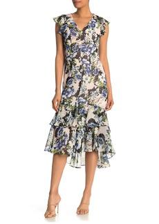 Tommy Hilfiger Floral Print High/Low Ruffle Midi Dress