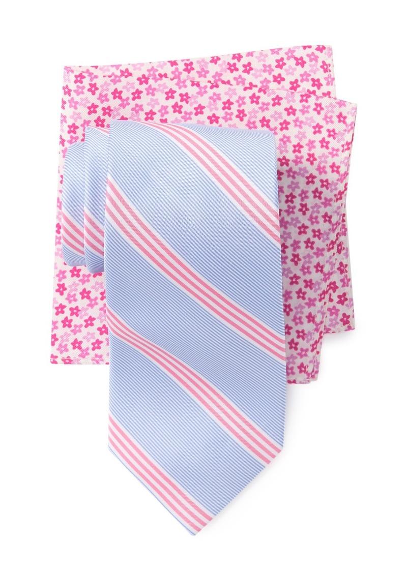 Tommy Hilfiger Fresh Stripe Tie & Floral Pocket Square
