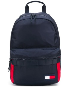 Tommy Hilfiger front logo patch zipped backpack