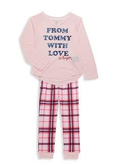 Tommy Hilfiger Girl's 2-Piece Graphic Top & Plaid Pants Pajama Set