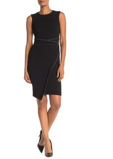 Tommy Hilfiger Heathered Piping Asymmetrical Hem Sheath Dress