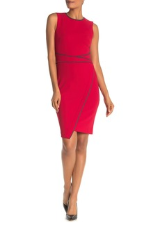 Tommy Hilfiger Heathered Piping Asymmetrical Hem Sheath Dress