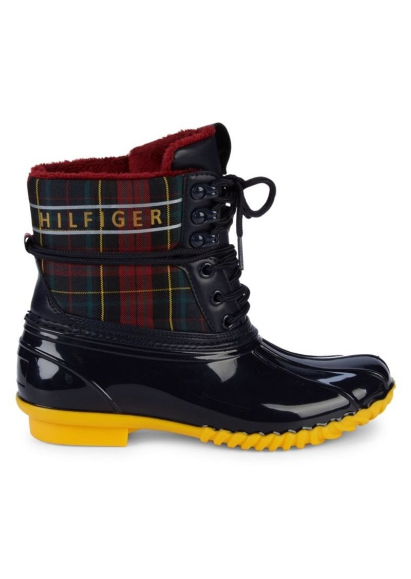 Tommy Hilfiger Hessa Plaid Faux Fur-Lined Duck Boots