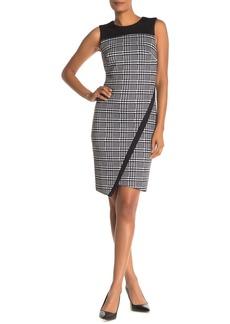 Tommy Hilfiger Houndstooth Plaid Asymmetrical Sheath Dress