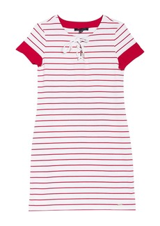 Tommy Hilfiger Lace-Up Stripe Print Dress