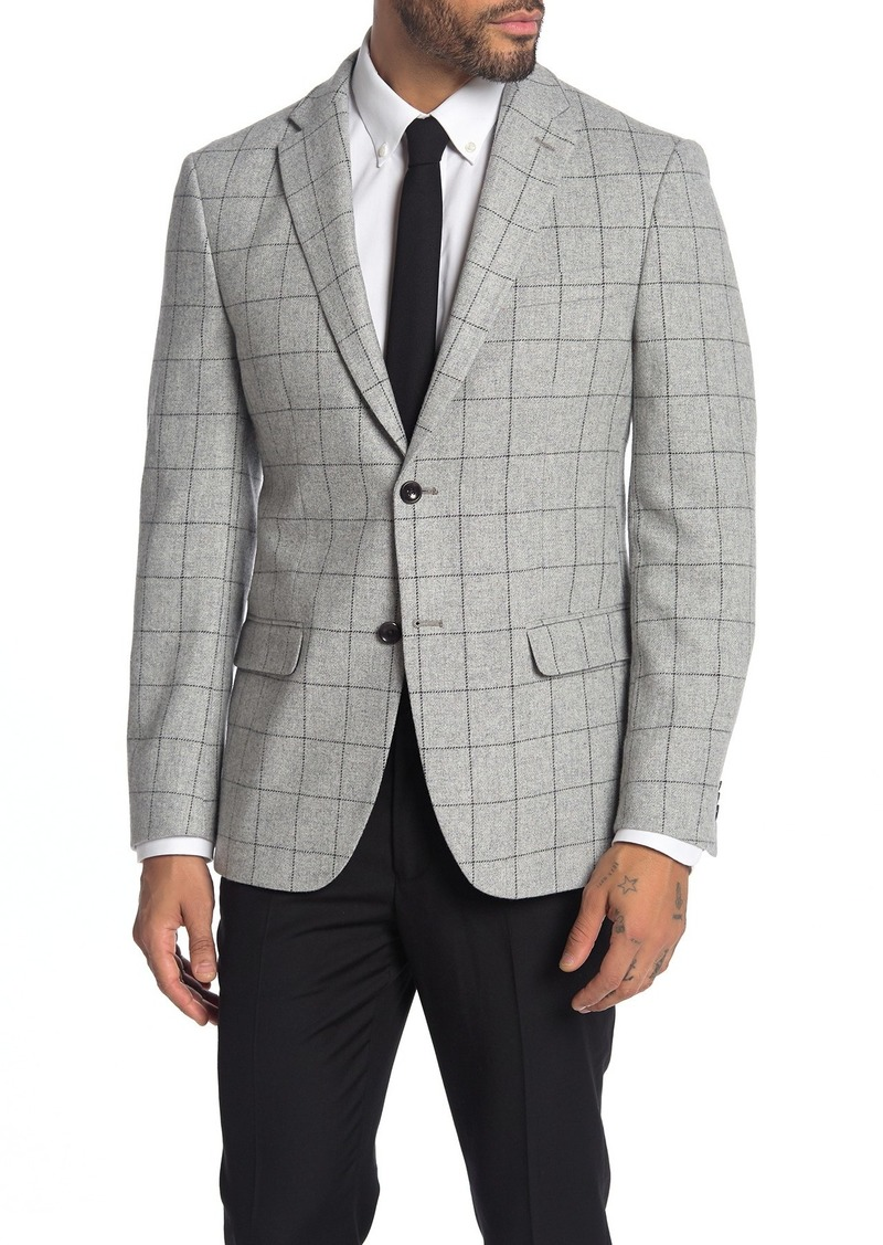 Tommy Hilfiger Light Grey Grid Two Button Notch Lapel Sport Coat