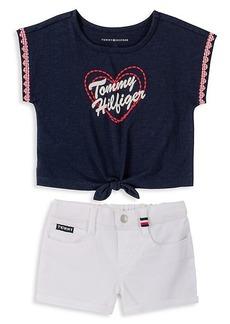 Tommy Hilfiger Little Girl's 2-Piece Logo T-Shirt & Denim Shorts Set