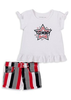 Tommy Hilfiger Little Girl's 2-Piece Star-Print Top & Striped Shorts Set