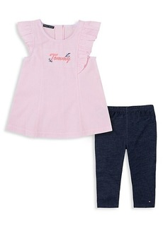 Tommy Hilfiger Little Girl's 2-Piece Striped Top & Jeggings Set