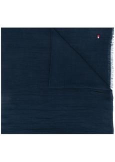 Tommy Hilfiger logo embroidered frayed scarf