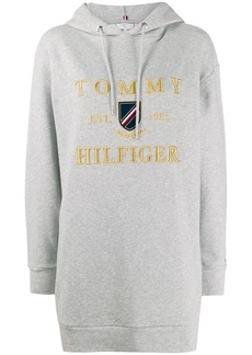 Tommy Hilfiger logo embroidered long hoodie
