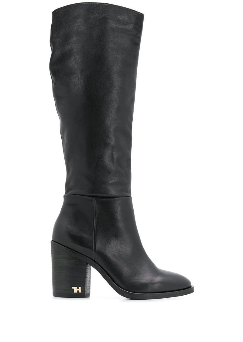 Tommy Hilfiger logo hardware calf high boots