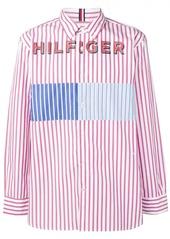 Tommy Hilfiger logo print striped shirt