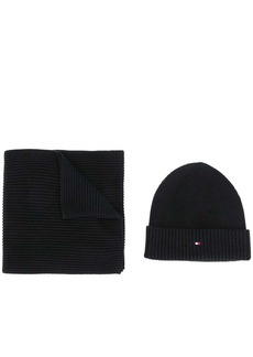 Tommy Hilfiger logo scarf and beanie set