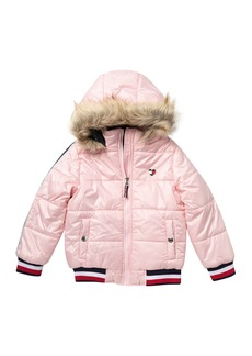 Tommy Hilfiger Logo Tape Jacket with Faux Fur (Big Girls)