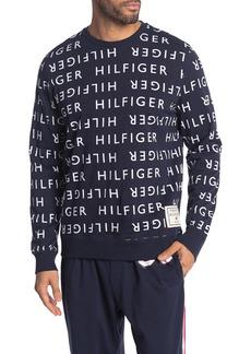 Tommy Hilfiger Logo Print Crew Neck Lounge Pullover