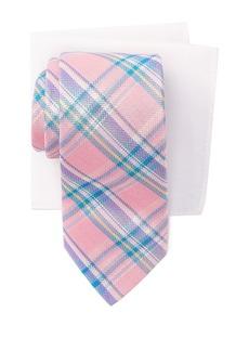 Tommy Hilfiger Madras Check Tie & Pocket Square Box Set