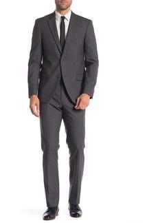 Tommy Hilfiger Medium Grey Stripe Two Button Notch Lapel Classic Fit Suit