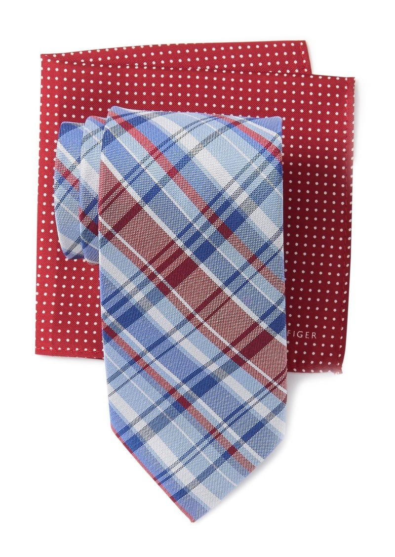 Tommy Hilfiger Multi Plaid Tie & Dot Pocket Square