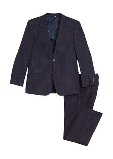 Tommy Hilfiger Navy Red Stripe Print Two Button Notch Lapel Linen Suit