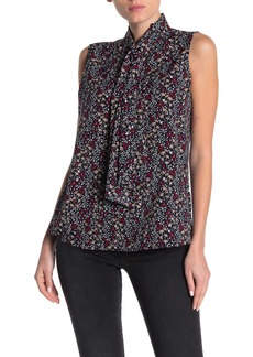 Tommy Hilfiger Neck Tie Print Sleeveless Blouse