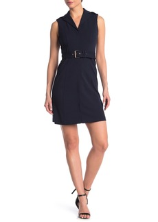 Tommy Hilfiger Notch Collar Sleeveless Fit and Flare Dress