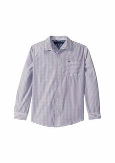 Tommy Hilfiger Owen Stripe Long Sleeve Button Down Shirt (Big Kids)