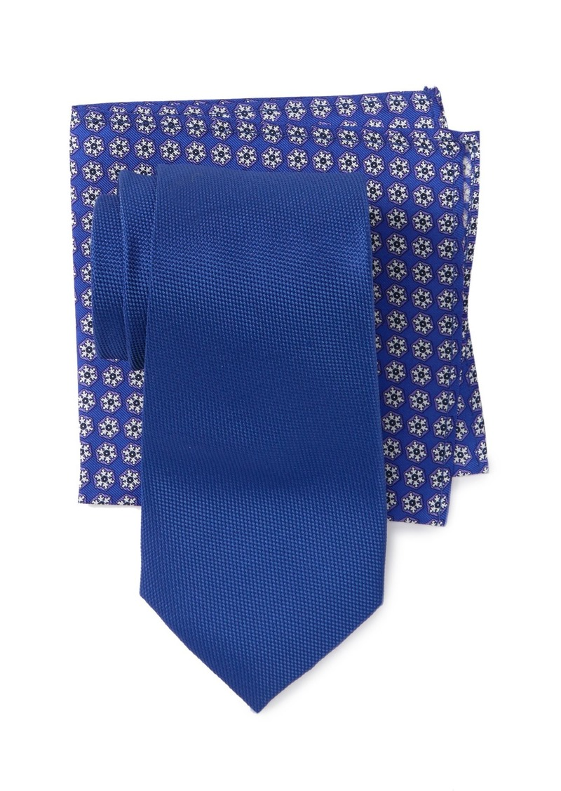 Tommy Hilfiger Oxford Solid Tie & Snowflake Pocket Square