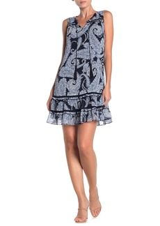 Tommy Hilfiger Paisley Keyhole Chiffon Shift Dress