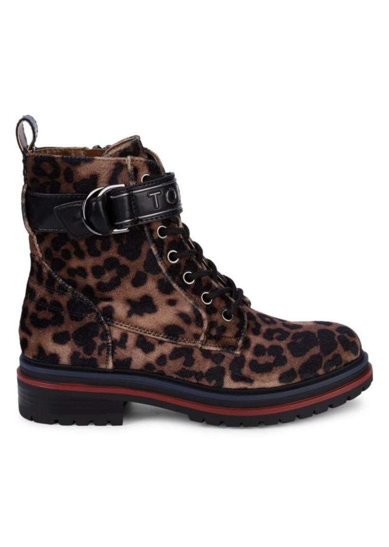 Tommy Hilfiger Parsins Leopard-Print Velvet Combat Boots
