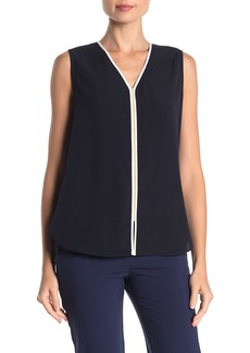 Tommy Hilfiger Piped V-Neck Sleeveless Blouse