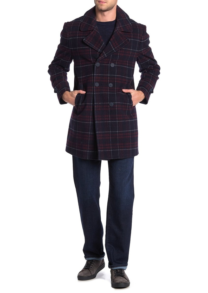 Tommy Hilfiger Plaid Double Breasted Coat