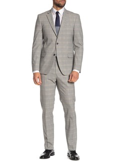 Tommy Hilfiger Plaid White-Grey Slim Fit Wool Blend Suit