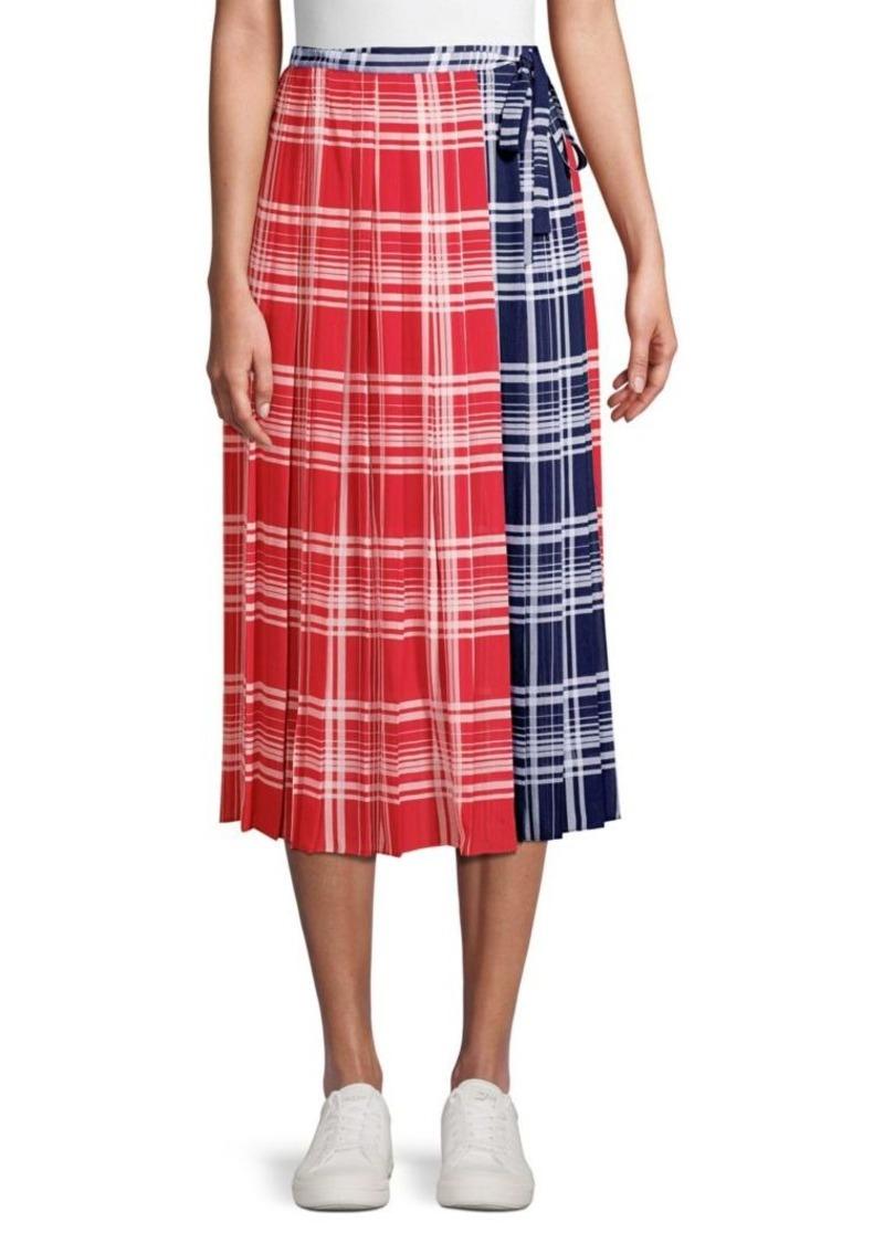 Tommy Hilfiger Pleated Madras Wrap Skirt