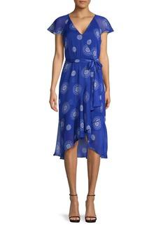 Tommy Hilfiger Print Flutter-Sleeve Wrap Dress