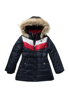 Tommy Hilfiger Quilted Chevron Colorblock Puff Jacket with Faux Fur (Big Girls)