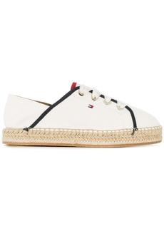 Tommy Hilfiger raffia sole lace-up sneakers