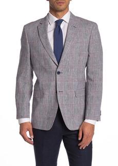Tommy Hilfiger Red/White/Black Glen Plaid Two Button Notch Lapel Linen Regular Fit Suit Separates Jacket