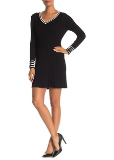Tommy Hilfiger Ribbed Knit Button Cuff Mini Dress