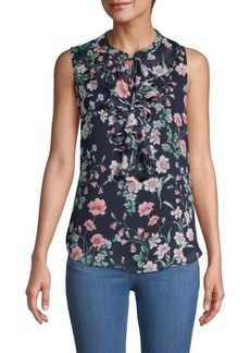 Tommy Hilfiger Ruffled-Trim Moody Floral-Print Top