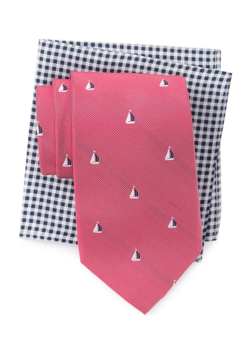 Tommy Hilfiger Small Boat Tie & Gingham Pocket Square