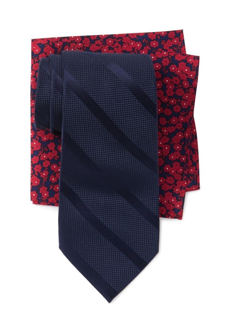 Tommy Hilfiger Solid Stripe Tie & Floral Pocket Square