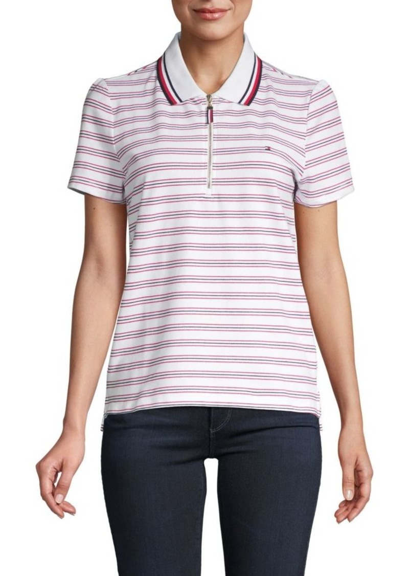 Tommy Hilfiger Stripe Stretch Cotton Zip Polo