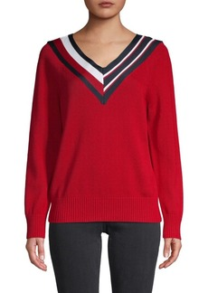 Tommy Hilfiger Striped Tape V-Neck Pullover