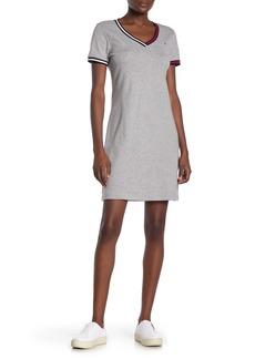 Tommy Hilfiger Striped V-Neck Short Sleeve Dress